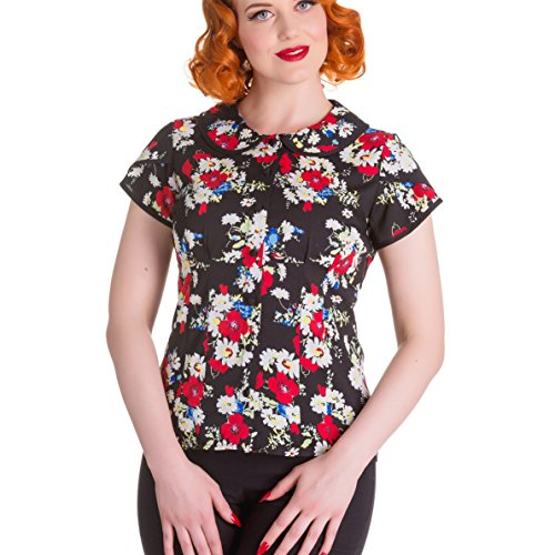 c9092eab4cf31e Hell Bunny 50s Shirt Top Blouse Floral Vintage Heather Black Flowers XXL 18