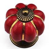 FEIDAjdzf Türknöpfe, Kürbis-Knöpfe, Keramik, für Schrank, Schublade, Küche, Retro, Ziehgriff – Rot Kürbis