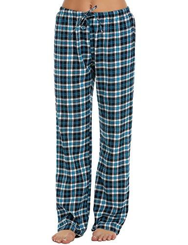 ADOME Damen Schlafanzughose Baumwolle Pyjamahose Sleep Hose Lang Blau XL (Sleep-pant Blaue Damen)