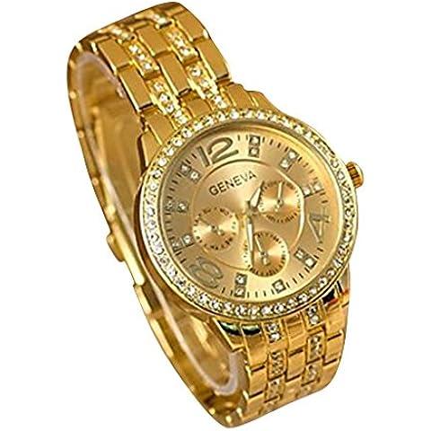 Diamante de acero reloj de cuarzo YPS Moda Hombres de Negocios Casual (Oro) WTH8017