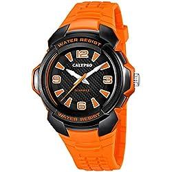 Calypso by Festina Armbanduhr Herrenuhr Analoguhr Leuchtzeiger 10 ATM K5635, Farbe:orange