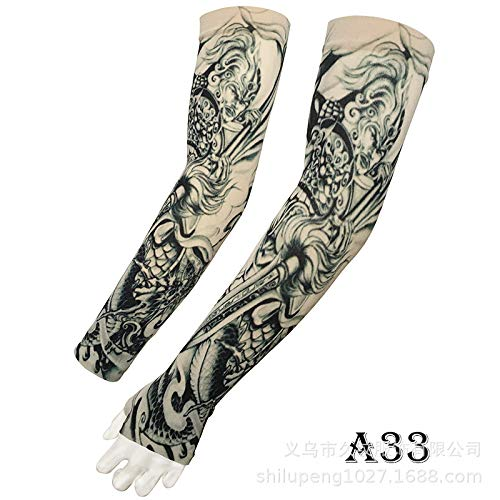 tzxdbh Tattoo Ice Sleeve 360-Grad-Digitaldruck Outdoor-Sportarten Reiten Sonnencreme Tattoo Sleeve A33 Walküre Zhao Zilong einfarbig bezieht Sich auf den Armumfang 17-50 cm erhältlich
