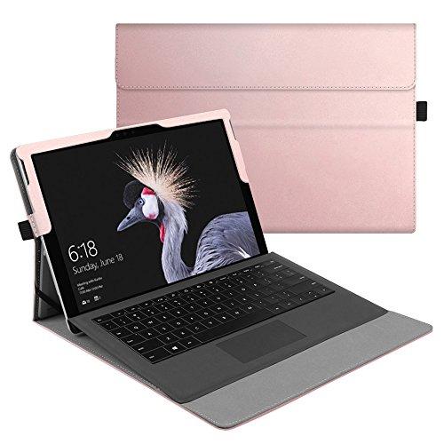 Fintie Hülle für Microsoft Surface Pro 6 (2018) / Pro 5 (2017) / Pro 4 / Pro 3 - Multi-Sichtwinkel Hochwertige Tasche Schutzhülle aus Kunstleder, Type Cover kompatibel, Roségold