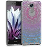 kwmobile Hülle für Huawei Honor 6C - TPU Silikon Backcover Case Handy Schutzhülle - Cover klar Indische Sonne Design Blau Pink Transparent