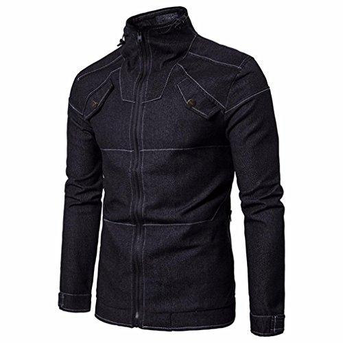 POachers Blousons Homme Col Montant Solid Couleur Veste en Jean à Manches Longues Manteau Zipper Outwear M à 2XL (2XL, Noir)