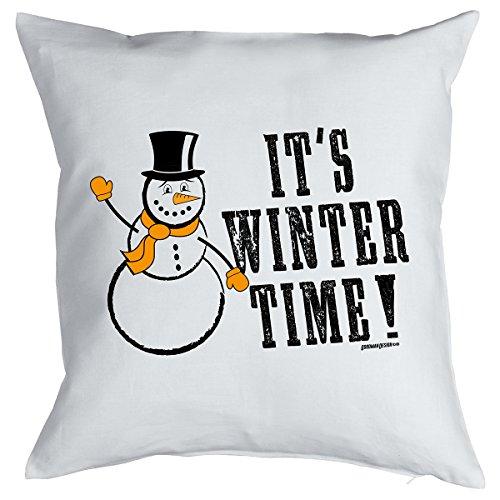 X-Mas Kissen <-> It´s Winter Time! <-> kleines Präsent zu Weihnachten, Goodman Design® Weiss - Santas Oldtimer