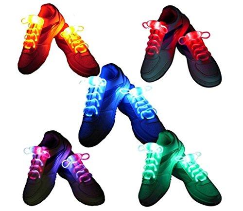 LED Schnürsenkel 10st Glowing Flash LED Blinklicht Leuchte Schuhbänder Schnürsenkel für Hip-hop Tanzen Party Disco Karneval Fashing - Regenbogen-farbigen Sternen