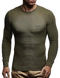 LEIF NELSON Herren Pullover Strickpullover Hoodie Basic Rundhals Crew Neck Sweatshirt longsleeve langarm Sweater Feinstrick LN1545
