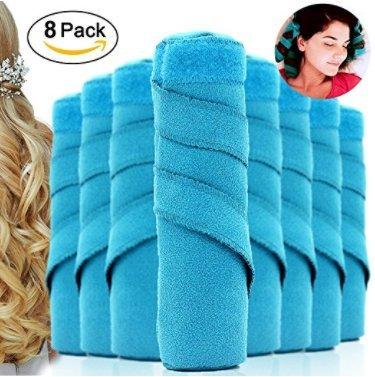 J.Causd 8 Stück Blau Drache Nachtzeit Haar Lockenwickler Schlaf Haarrollen Einfach Spiral Curls Set Heat-free für Alle Arten von (Bequemer Sleep)