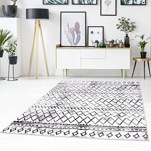 carpet city Teppich-Läufer Flachflor mit Zickzack-Muster, Chevron, Modern, Meliert in Weiß, Schwarz für Wohnzimmer; Größe: 80x300 cm (Chevron Läufer Teppich Schwarz)