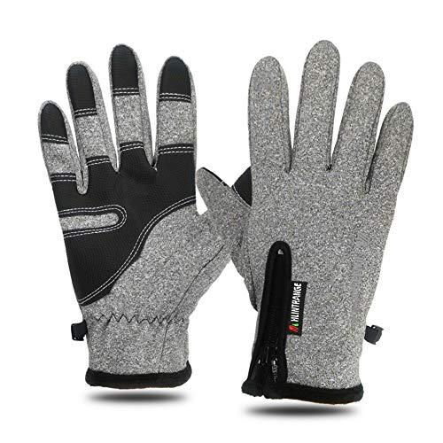Mroobest Handschuhe, Winterhandschuhe, Warme Handschuhe, Touchscreen Handschuhe mit Winddicht und wasserdicht Funktion, ideal für Radfahren, Laufen, Camping im Winter-Grau-Herren-L