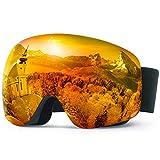 Elegear Anti-Fog Skibrille Verspiegelt Snowboard Brille Ski Goggles für Herren Damen Anti-Nebel Schneebrille UV-Schutz sphärischer Dual-Linse für Schneemobil, Skifahren, Skaten Wintersport - Orange
