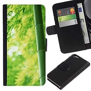 Ledertasche Brieftasche Flip Karten-Beutel Weich-Halter HandyHülle für Apple Iphone 6 4.7 / CECELL Phone case / / Bamboo Japan Green Nature Forest /