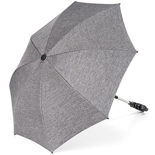 Universal Sonnenschirm Sonnenschutz für Kinderwagen & Buggy - UV Schutz 50+/73 cm Durchmesser/biegsam/Universalhalterung für Rund- und Ovalrohre - Melange Grau - Zurück Liege, 3-position