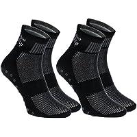 2,4 o 6 pares de calcetines Antideslizantes Negros, ABS, ideal para los Deportes, Yoga, Fitness, Pilates, Artes Marciales, Danza, Gimnasia, Trampolín. Tamaños 36-46, Algodón Respirable