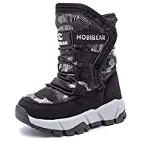 Kids Snow Boots Boys Girls Winter Fur Lined Children Boots Waterproof Outdoor Non-Slip Cosy Casual Warm Shoes(Black,Size 4)