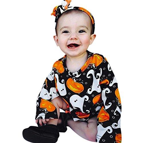 URSING Baby Jogginganzug Halloween Kleider Outfit Neugeboren Säugling Baby Mädchen Kürbis Spielanzug + Schönes Stirnband babyausstattung Ort Super gemütlich übergang total (80CM)