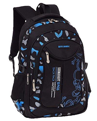 Imagen de escuela  portátil backpack casual impermeable  niños adolescentes azul grande