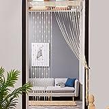 Hukz 50x200 cm Liebe Herz String Vorhang Fenster Tür Teiler Sheer Vorhang Valance (Beige)