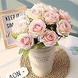 ASTARC Rose 12 Capitule Petits Bouquets De Roses Frais Fleur De Mariage Décoration Murale Fleurs Artificielles Parti Home Decor d'anniversaire Jardin (Rose Clair)...