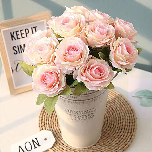 Astarc rose 12 flower head piccoli mazzi freschi di rose decorazione floreale da parete decorazione fiori artificiali home decor compleanno giardino (rosa chiaro)