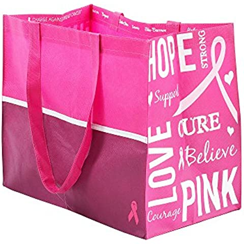 Charge Against Breast Cancer Reusable Shopping Tote-Set of 2 by Bon-Ton