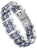 Aoiy Herren-Armband, Edelstahl, Gro§ und Schwer Motorradfahrer Fahrradkette, Blau-Silber-Farbe, ccb095la