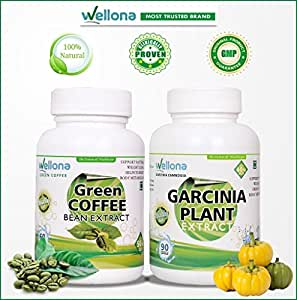 Wellona Pure Green Coffee Beans Extract + Pure Garcinia Cambogia Extract - Best Weight Loss Pills Bundle, Non GMO - Gluten and Gelatin Free.