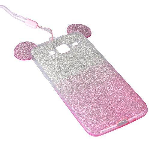 Coque Samsung Galaxy J3 (2015 Version) Etui,Vandot Ultra Mince Housse Samsung Galaxy J3 (2015 Version) Silicone Transparent Case pour Samsung Galaxy J3 (2015 Version) Coque de Protection en TPU avec A Oreilles-Rose