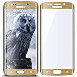 moex 3D Panzerfolie für Samsung Galaxy S6 Edge | Panzerglas Full Screen Glasfolie [Tempered Glass Curved] Protector Glas Displayschutz-Folie für Samsung Galaxy S6 Edge Schutzfolie, Gold