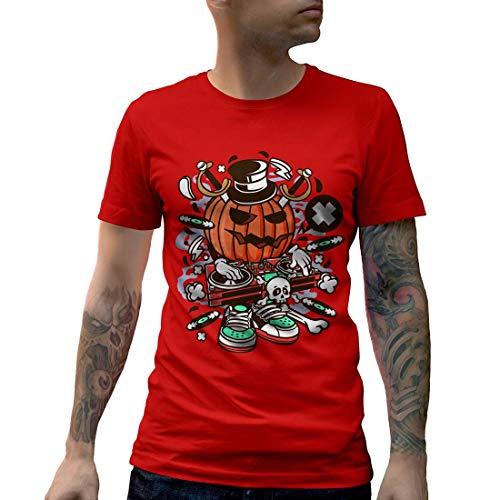 C089MCNTR Herren T-Shirt DJ Halloween Music Disco Club Food Retro Party Funny Stereo Disc Jokey Mono Jack Classic(X-Large,Red)
