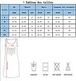 Aitos Femmes Robe été de Plage Sans Manches Cou Ronde A-ligne Imprimé Robe Casual Bleu XL - 6