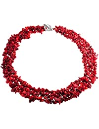 Multi Strands Gemstone Red Dyed Coral Chips Chunky Cluster Necklace Silver Plated