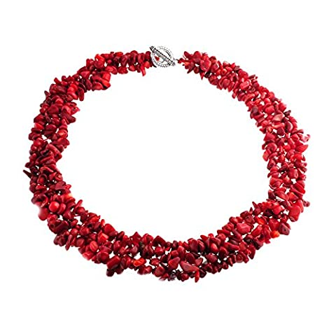 Bling Jewelry Multi Strands Gemstone Red Dyed Coral Chips Chunky Cluster Necklace Silver Plated