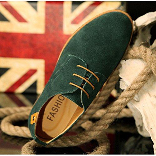 AARDIMI Herren Schnürhalbschuhe Casual Schuhe Neue Frühling Männer Wohnungen Schnüren Sich Männliche Wildleder Oxfords Männer Lederschuhe(Hersteller-Größentabelle IM Bild Beachten) Grün