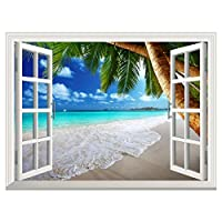"""RAIN QUEEN Tropical Beach Landscape with Palm Tree Natural Scene with 3D Effect Window Wall Stickers (24""""x32""""), Adhesive Removable Waterproof Wall Mural, Modern Home Decor"""
