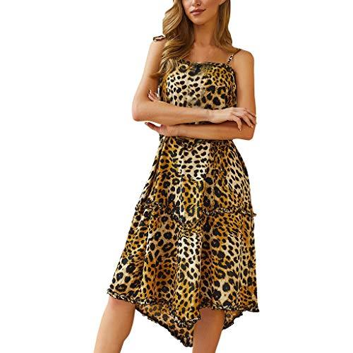Nyuiuo Damen Kleider Frauen Rock Chiffon V-Ausschnitt Dot Leopard Geraffte Print Sling rückenfrei lose Maxi-Kleid Damen Schulterfrei Sommerkleid Strandkleider Spaghetti Strap Tunika Minikleid Print Jersey Knot Dress