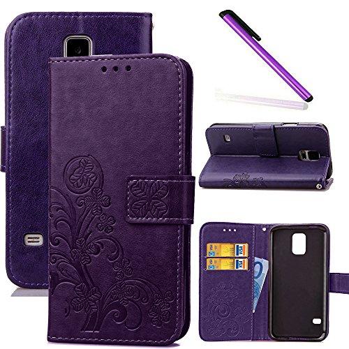 COTDINFOR Galaxy S5 Funda trébol Cierre Magnético Billetera con Tapa para Tarjetas de Cárcasa Elegante Retro Suave PU Cuero Caso Protectora Case para Samsung Galaxy S5 Clover Purple SD
