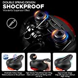 Comfortable Bike Seat Cushion with Taillight for Men Women - SOKLIT Wide Bicycle Saddle with Bike Seat Cover Waterproof Breathable Memory Foam Padded Leather, Dual Spring Designed Fit Most Bikes, Width 8.7inch, Length 11inch, Powered by 1 battery, Extra 2 Battery as Gift