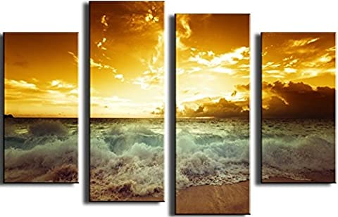 OBELLA New Top Wall Art Canvas Prints 4 Pieces || Beautiful Sunset, crazy Waves || Modern Contemporary Posters Oil Paintings Prints and Pictures Photo Image Wall Art Prints on Canvas Painting for Home Bedroom Living Room Wall Decor Christmas Gifts Decoration - Frameless