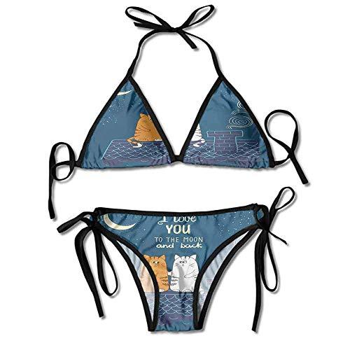 KAKALINQ Custom Bikini Thong Bottom Set On The Roof Under Night Printing Bikini for Women
