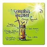"""Addies Glas-Untersetzer 6-tlg.Set """"Cocktail"""" in hochwertiger Klarsicht-Geschenkbox und Korkrückseite, eckig, Motiv-Tequila Sunrise-2"""