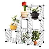 HENGMEI Regalsystem stufenregal DIY 6 fächer - Standschrank Raumteiler Steckregal 110 x 37 x 110cm - für Bücher, Kleidung, Spielzeug und Schuhe (6 fächer,18 x Drahtgitter)