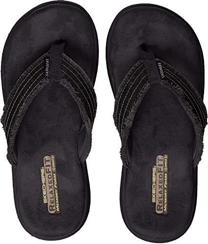 Skechers 65091', Sandalias de Punta Descubierta para Hombre, Negro Black, 43 EU
