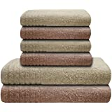 Gallant 6 tlg Handtuch-Set 4 Handtücher 50x100 cm 2 Duschtücher 70x140 cm 100% Baumwolle beige-creme beige