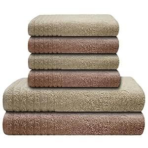 Gallant 6 tlg Handtücher Set beige creme 4 Handtücher 50x100 cm 2 Duschtücher Badetücher 70x140 cm Handtuch Badetuch Duschtuch 100% Baumwolle Frottier Handtuch Set beige creme