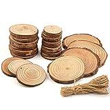 FEPITO 34 Stück Holzscheiben Naturholz Holz Scheiben Unfinished Holz Kreise mit Baumrinde Handwerk Valentinstag Hochzeit DIY Handwerk