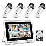 YESKAMO Überwachungskamera Set Außen Kabellos mit 4 x 1080P WLAN WiFi Kameras 12' HD 2,0 Megapixel Monitor Vorinstalliert 2TB Festplatte Videoüberwachungssystem mit Nachtsicht Bewegungserkennung