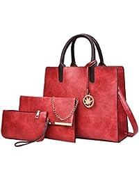 Topker Vintage en cuir sac femmes sac à bandoulière dames grande capacité sac à bandoulière femelle 3 ensembles sac à main petit sac à main S0pz56tN5M