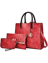 Topker Vintage en cuir sac femmes sac à bandoulière dames grande capacité sac à bandoulière femelle 3 ensembles sac à main petit sac à main
